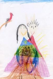 Kinderzeichnung zwei Menschen